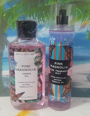 bath and body works pink magnolia shower gel and fine fragrance mist