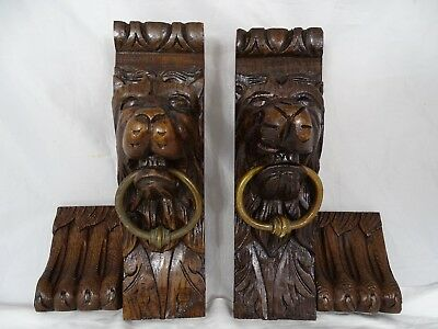 "13.2"" Antique French Pair of Hand Carved Oak Wood Lion Wall Corbel Bronze Ring"