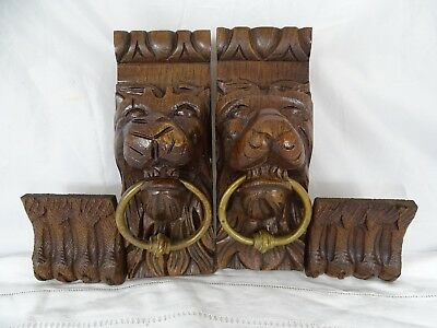 "10.24"" Antique French Pair of Hand Carved Oak Wood Lion Wall Corbel Bronze Ring"