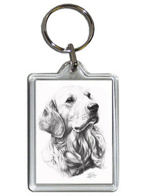 Mike Sibley Golden Retriever Quality Acrylic Keyring 50mmx35mm - Dog Lover Gift