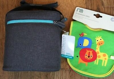 Mothercare Innosense Grey Double Bottle Bag & Pack Of 3 Mothercare Bibs 0-6 Mths