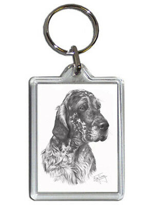 Mike Sibley English Setter Quality Acrylic Keyring 50mm x 35mm - Dog Lover Gift