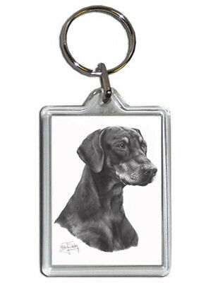 Mike Sibley Doberman Pinscher Quality Acrylic Keyring 50mmx35mm - Dog Lover Gift
