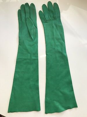 Vintage Bright Green Kid Leather Long Women's Gloves Size 6 Unlined