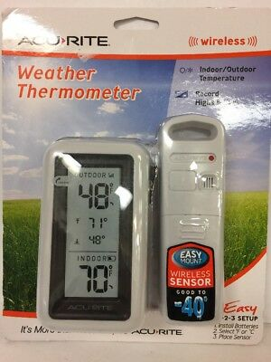 NEW! AcuRite Wireless Digital Indoor/Outdoor Weather Thermometer 00522SBDI