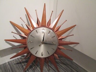 VINTAGE RETRO 1960.s METAMEC SUNBURST STARBURST ELECTRIC CLOCK