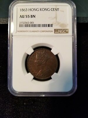 1863 Hong Kong Cent Ngc Au 55 Bn Very Scarce In High Grade