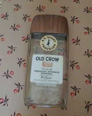 Old Crow Whiskey Vtg '70's Traveler Fifth W/buckle Strap Empty Bottle~Packs Flat