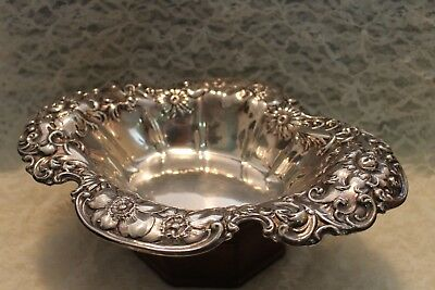 Wallace Clematis Sterling (.925) Silver Bowl Large and Ornate