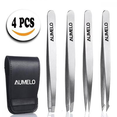 Tweezers Set 4-Piece Professional Stainless Steel Gift with Travel Case by...