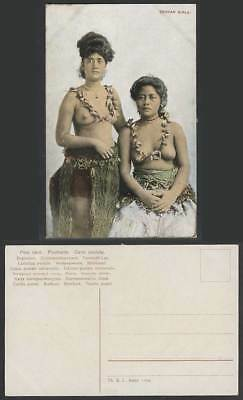 Samoa Old Colour Postcard Samoan Girls Native Women Ladies, Traditional Costumes
