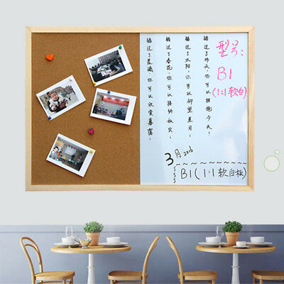 Combination Board Message Cork Wood Frame Drawing Bulletin Magnetic Whiteboard