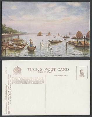 Singapore Old Tuck's Postcard Native Harbour Sampan Boats, N. Daly Artist Signed
