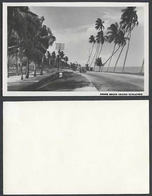 Singapore Old Real Photo Postcard BEDOK BEACH CHANGI Vintage Motor Cars & Street