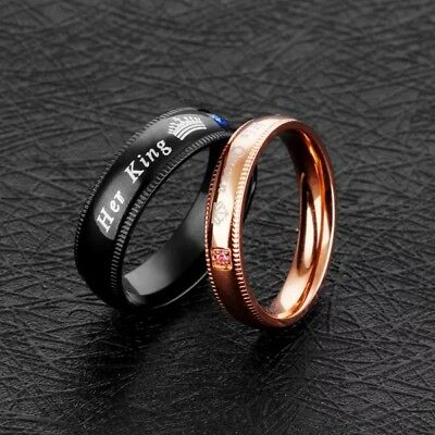 5232c156ee Couples Stainless Steel His Queen Her king Ring Wedding Engagement Charm  Band