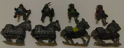 Lot Of 4 Byzantine Heavy Cavalry With Riders Lead/Pewter Figures Soldiers Toy