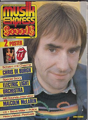 Musik Express Sounds September 1983 Poster Nena Rolling Stones Chris De Burgh