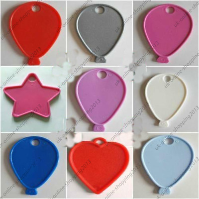 5-100-COLOUR-Balloon Shape-Weight-Plastic-For-Helium-Foil-Ballons-Any-Occasions