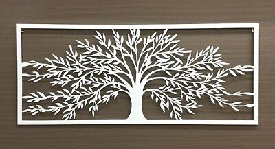 TREE OF LIFE WALL ART RECTANGLE METAL HANGING SCREEN SIGN OUTDOOR WHITE 123x56cm
