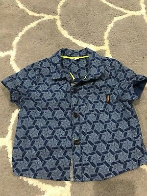 Baker By Ted Baker Baby Boys Short Sleeve Blue Pattern Button Up Shirt Size 000