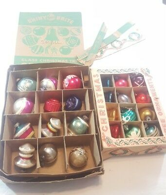 Vintage Glass Christmas Ornaments, Shiny Brite, Mixed Lot Of 24