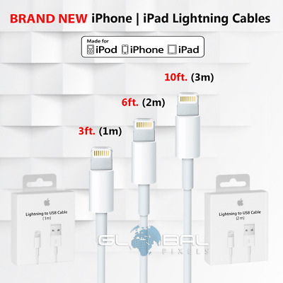 Apple Lightning Cables 3 6 10 ft USB chargers lot iPhone 5 6s 7 8 X Original
