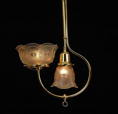 Restored Original 1890's Victorian Gas & Electric Polished Brass Ceiling Pendant