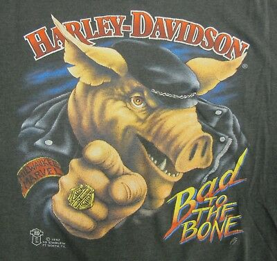 RARE Vintage 1987 Harley Davidson 3d Emblem Bad To The Bone Hog T Shirt