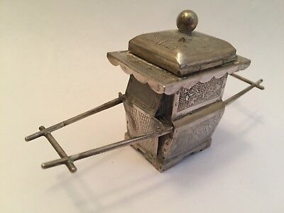 Antique Asian Export Solid Silver Miniature Novelty Litter/Sedan Box, 56.9g