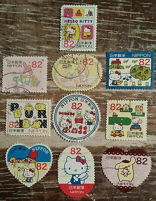 SC# 3696 a-j SET y82 2014 HELLO KITTY & MY MELODY POMPOMPURIN JAPAN STAMPS USED