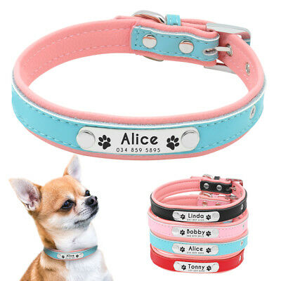 Soft Leather Personalized Dog Collar Paw Print Custom ID Nameplate free Engraved