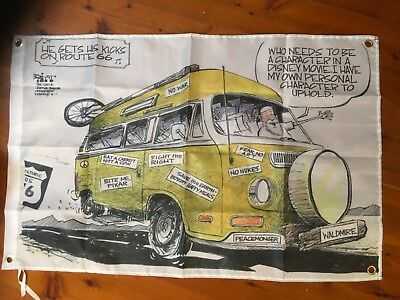 kombi Volkswagon beetle printed shed bar biker poster man cave flag Route 66 USA