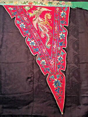 1 Antq Qing Dyn Chinese Silk Embroidered 2 side robe dtal*Forbidn,Stitch low res