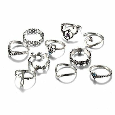 10Pcs Vintage Stackable Bohemian Crystal Flower Knuckle Joint Nail Midi Ring Set