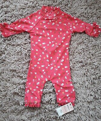 Mothercare Baby Girls Sun Suit Age 18/24 Months New Uv Protected Pink Summer