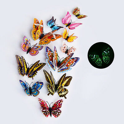 12Pcs 3D Butterfly Glow in The Dark Decal Wall Magnetic Sticker Home Mural Decor