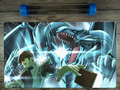 YuGiOh Seto Kaiba & Neo Blue-Eyes Ultimate Dragon TCG Playmat Mat Free Best Tube