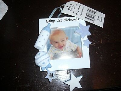 NEW PERSONALIZED MY First Christmas Ornament Frame Baby Blue Boy ...
