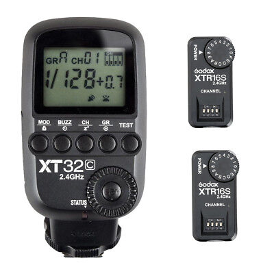 Godox XT32C 2.4G HSS Flash Trigger Transmitter for Canon + 2X XTR-16S Receiver