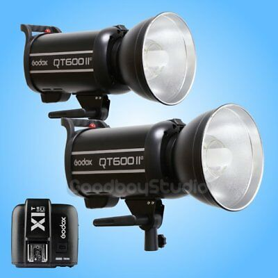 2PCS Godox QT-600IIM 2.4G Studio Strobe Flash Light + X1T-C Wireless Transmitter
