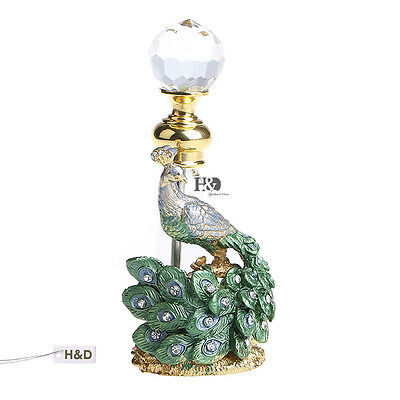 Vintage Antique Green Gold Peacock Refillable Empty Perfume Bottle Craft Gift US