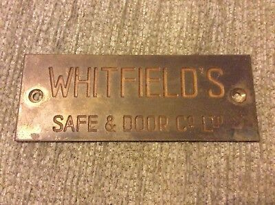 Old vintage cast bronze WHITFIELDS SAFE & DOOR Co Ltd plaque sign