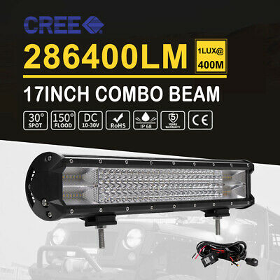 15inch LED Light Bar 4Rows Spot Flood Combo Offroad Work Driving Fog Lamp Wiring