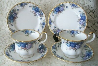 2 x Royal Albert 1987 Moonlight Rose Trio's Cup Saucer Side Plates VGC