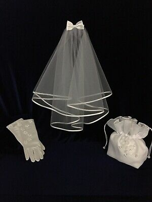 3pc White Veil,Bag and Glove Set Ideal Holy Communion, Bridesmaid/Flower Girl BN