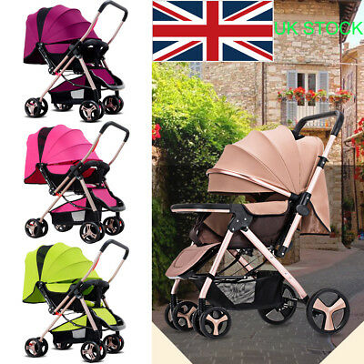 New! Foldable Pram Baby Stroller Pushchair Carrycot Anti-shock Buggy with Awning
