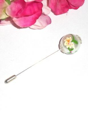 Beautiful Decorated Large Glass Pearl Hat Pin/Scarf Pin with End Protector S/P