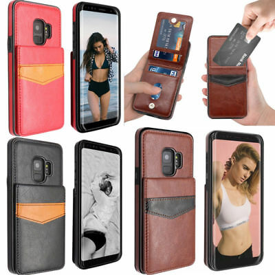 For Samsung Galaxy S9 Plus/S8 Leather Wallet Credit Card Holder Stand Case Cover