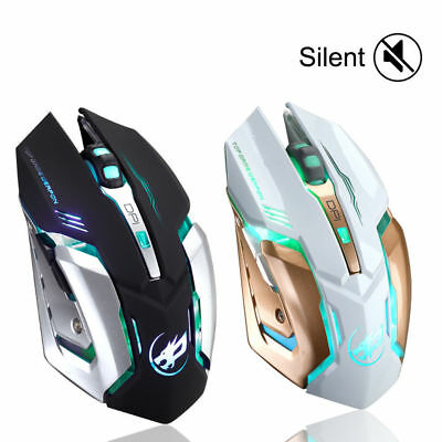 Rechargeable T1 Wireless Silent LED Backlit USB Ergonomic Gaming Mouse New