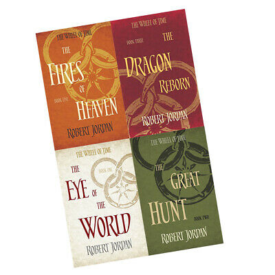 Robert Jordan Wheel of Time Series Fires Of Heaven Dragon 4 Books Collection Set